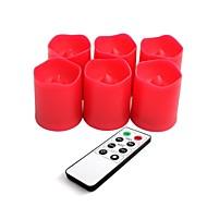 ensemble de 6 rouge en plastique de couleur conduit bougies votives avec télécommande et minuterie