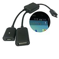 Micro USB host OTG kaapeli&USB Power maksu Samsung Galaxy S3 / S4 / Note3