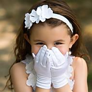 Polslengte Vingertoppen Handschoen Satijn Bloemenmeisjeshandschoenen Lente Zomer Herfst Winter