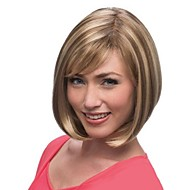 Capless Top Grade Synthetic Light Brown Short Straight Bob Hairstyle Wig for Women