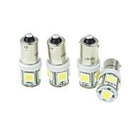 4pcs BA9S (T4W w6w) 2.5W 5x5054smd 160-180lm 6000-6500K weißes Licht für Auto lndicator (DC12-16V)