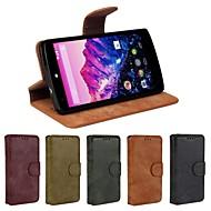 Para Funda LG Soporte de Coche / Cartera / con Soporte / Flip Funda Cuerpo Entero Funda Un Color Dura Cuero Sintético LG LG Nexus 5