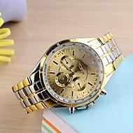 Masculino Relógio de Pulso Quartz Aço Inoxidável Banda Dourada marca-