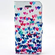 Coco fun® värikäs sydän kuvio PU nahka tapauksessa näytön suojakalvon ja usb-kaapeli ja Stylus iPhone 4 / 4s