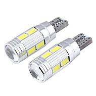 t10 3W 300lm 6000K 10-SMD 5730 LED hvit astigmatisme konveks speil bredde lampe (12V / 2 stk)