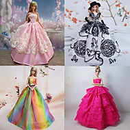 Princess Dresses For Barbie Doll Purple / Pink Dresses For Girl's Doll Toy