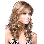 Capless Blonde Long High Quality Natural Curly Hair Synthetic Wig with Side Bang;