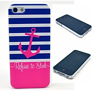 Striped Refuse to Sink Anchor Pattern Hard Case for  iPhone 4/4S