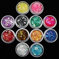 12Pcs Colors Shell Paper Sticker Nail Art Decoration