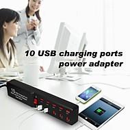 prise britannique peuplier 10 ports de chargement USB multi-usage adaptateur d'alimentation pour Samsung / iphone / ipad (5v)