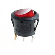 Ενότητες 3-pin διακόπτη DIY βράχο w / κόκκινη ενδεικτική λυχνία - μαύρο (10 τμχ)