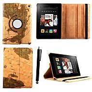 caja de cuero de la PU del estilo patrón mapa karzea ™ con soporte y la aguja para el Kindle Fire HD 6