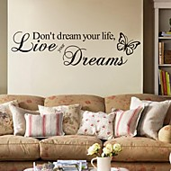 Wall Stickers Wall Decals, Live Your Dreams English Words & Quotes PVC Wall Stickers