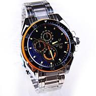 la montre de mode bande de quartz cadran rond en acier des hommes (couleurs assorties)