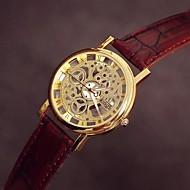 à double bande de montre en cuir creuse en quartz étanche cadran rond unisexe (couleurs assorties)