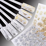 24 pcs Of Mixed White Background Hot Yinhua 3D Nail Stickers