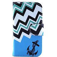 Blue Anchor Pattern PU Leather Case and Mini Display Stand with Diamond Dust Plug for iPhone 4/4S