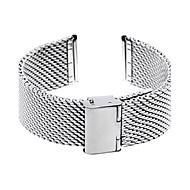 Unisex 24mm dik gaas stalen horloge band band armband vouw over gesp zilver