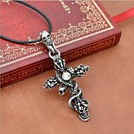 Férfi Nyaklánc medálok Nyilatkozat nyakláncok Bőr Titanium Acél Cross Shape Skull shape Kígyó nyilatkozat ékszerek Ezüst ÉkszerekNapi