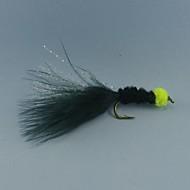 12pcs huevo que aspira la sanguijuela vuela de color marabú negro con la trucha flashabou tamaño streamer pesca # 6