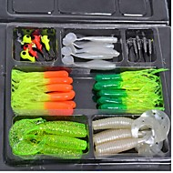 Soft Baits/Jigs Fishing Lure Set Random Color (45 pcs)