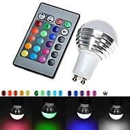 3W GU10 LED-pallolamput 300 lm RGB Kauko-ohjattava AC 100-240 V 1 kpl