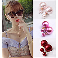 Kolczyki na sztyft Perłowy Purple Czerwony Niebieski Różowy Golden Biżuteria Na Ślub Impreza Codzienny Casual 2pcs