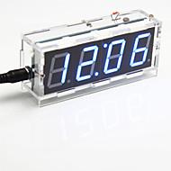DIY 4 자리 7 세그먼트 디스플레이 디지털 조명 제어 탁상 시계 키트 (푸른 빛)