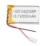 3.7v 350mah lithium polymer batteri for mobiltelefoner mp3 mp4 (4 * 20 * 35)