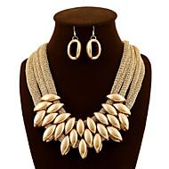 Dame Smykke Sæt Dråbeøreringe store halskæder Statement-smykker Europæisk luksus smykker Mode Akryl Stof Smykker Øreringe Halskæde Til