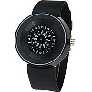 Männer runde Zifferblatt beiläufige Uhr PU-Armband Quarzuhr Mode Armbanduhr (farbig sortiert)
