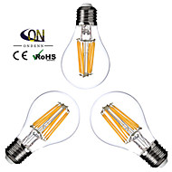 3PCS ONDENN E26/E27 8 W 8 COB 800 LM 2800-3200K K Warm White A Dimmable Globe Bulbs AC 220-240/AC 110-130 V