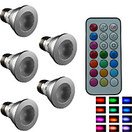 5pcs  SchöneColors® E27 4W Colorful Dimmable/21Keys Remote-Controlled/Decorative RGB LED SpotLights AC 85-265 V