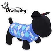 고양이 / 개 티셔츠 레드 / 블루 강아지 의류 모든계절/가을 격자 무늬 / 체크
