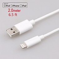 Apple MFi Certified Lightning to USB Data Sync Charger Round Cable for iphone 6/6plus/5s/5/ipad air/mini/4/iPod(200cm)