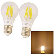 2 pièces YouOKLight E26/E27 6W 6 COB 600 LM Blanc Chaud edison Vintage Ampoules à Filament LED AC 85-265 V