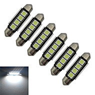 JIAWEN® 6pcs Festoon 42mm 1.5W 4x5050SMD 80-90LM 6000-6500K Cool White Light LED Car Light (DC 12V)