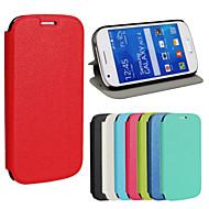 Για Samsung Galaxy Θήκη με βάση στήριξης / Ανοιγόμενη tok Πλήρης κάλυψη tok Μονόχρωμη Συνθετικό δέρμα Samsung Ace 4