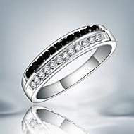 バンドリング 純銀製 キュービックジルコニア 模造ダイヤモンド ファッション ステートメントジュエリー ブラックとホワイト ジュエリー パーティー 1個