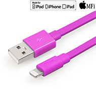 Yellowknife Mfi Lightning 8-Pin To USB 2.0 Charging Sync Data Flat Cable for iPhone 5s iPhone 6 Plus Purple Red 100cm