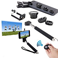 5 in 1 Kits Handheld Monopod +Phone Holder + Bluetooth Shutter + Fish Eye Lens + Wide Angle & Macro Lens for Samsung