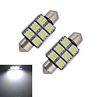 Jiawen® 2pcs festoon 36mm 1.5w 6smd 5050 100-150lm 6000-6500k luz branca legal levou luz do carro (dc 12v)