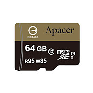 Apacer 64GB Clase 10 / UHS-I U3 MicroSD/MicroSDHC/MicroSDXC/TFMax Read Speed95 (MB/S)Max Write Speed85 (MB/S)