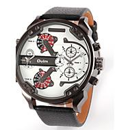 Oulm Herren Militäruhr Armbanduhr Duale Zeitzonen Quartz Japanischer Quartz Leder Band Luxuriös Schwarz Blau Braun