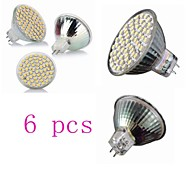 6 pcs GU5.3  4W 60*SMD3528 300LM 3000-3200K Warm White MR16 Spot Lights AC 220-240 V