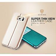 용 삼성 갤럭시 케이스 스탠드 / 윈도우 / 플립 케이스 풀 바디 케이스 단색 인조 가죽 Samsung S6 edge