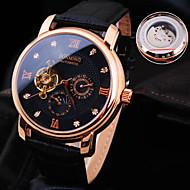 Heren Polshorloge mechanische horloges Automatisch opwindmechanisme Waterbestendig Leer Band Glitter Luxueus Zwart Bruin