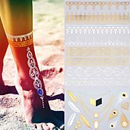 Gold Tattoos - Tatoveringsklistermærker - Mønster/Hawaiian/Nederste del af ryggen/Waterproof - Dame/Herre/Voksen/Teen - Guld/Sort/Sølv -