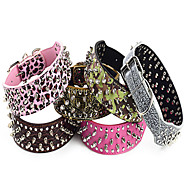 Adjustable PU Leather Rivets Studded Spike Collar for Pets Dogs (Assorted Colors, Sizes)