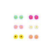 Kolczyki na sztyft Kolczyki Ustaw Żywica Posrebrzany Flower Shape Lampka zmieniająca kolory Biżuteria Na Codzienny Casual Sport 12szt